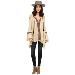 Free People tribal cold shoulder bell sleeve top S